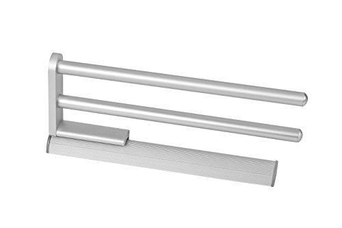 Design Handtuchstange ausziehbar Geschirrtuchhalter - SARAH | Handtuchhalter zweiarmig | Aluminium natur eloxiert | Länge ausgefahren 516 mm | 1 Stück - Handtuchreling 2-armig für Schrank-Montage