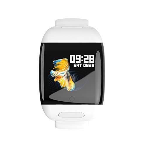 HJKPM Smartwatch Bluetooth Tapones 2 EN 1, Rastreador De Actividad De Reloj Inteligente con La Frecuencia del Ejercicio del Podómetro Y La Función De Monitoreo De La Presión Arterial,Blanco