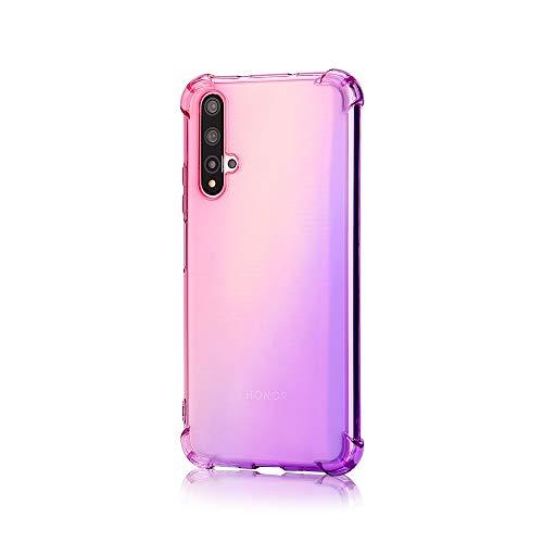 TANYO Hülle Geeignet für Huawei Nova 5T, Superdünn Weich Silikon Farbverlauf TPU Handyhülle, [Vier Ecken Verstärken] Stoßfest Transparent TPU Silikon Hülle Handyhülle. Pink/Lila