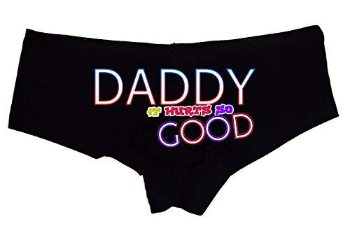 Sexy Girl Rock Daddy It Hurts So Good Booty Shorts Boyshort Cotton Bikini Bottom Sexy Panties with Words Black