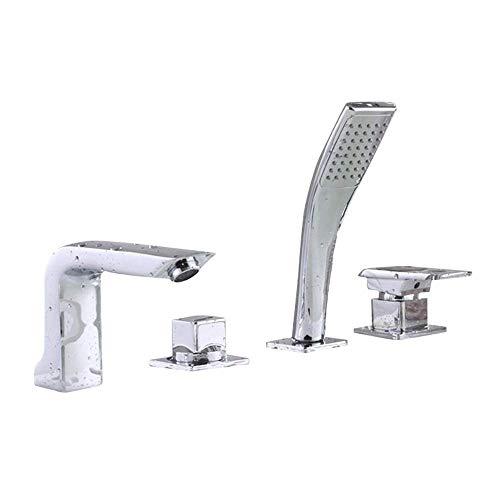 Fácil de Instalar Baño Grifo de Lavabo de Gama Alta de Cuatro Piezas Grifo de Cobre Caliente y frío Grifo de bañera Sentado