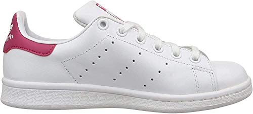 adidas Mädchen Stan Smith J B32703 Low-Top, Weiß (Ftwr White/Ftwr White/Bold Pink), 35.5 EU