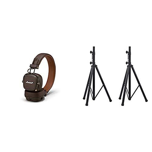 Marshall Major III Bluetooth Faltbar Kopfhörer - braun & Amazon Basics - Verstellbarer Lautsprecherständer - 110 cm bis 180 cm Aluminium 2er-Packung