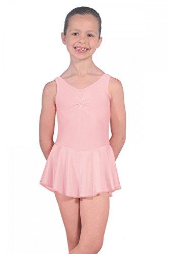 Dancewear Central Roch Valley ISTDJ - Maillot de licra con falda, color rosa pálido, edad 3-4 años