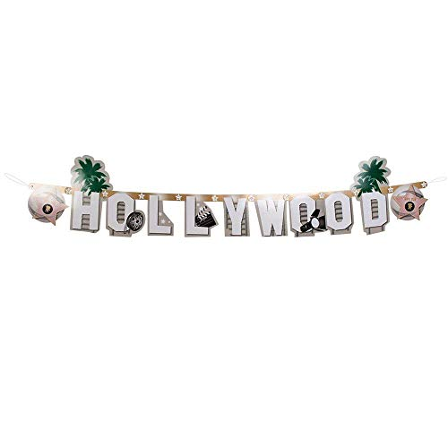 Boland 44201 - Buchstabengirlande Hollywood, Länge 135 cm, VIP, Hängedekoration, Motto Party, Karneval