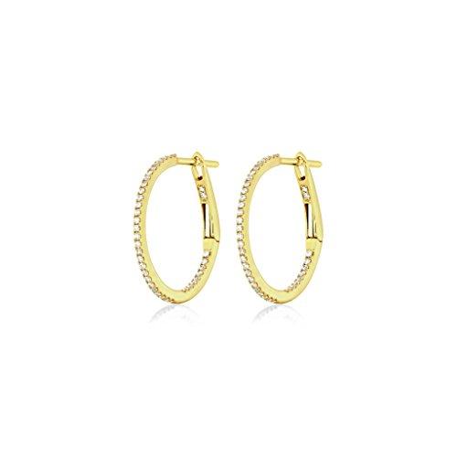 Juwelier Gelber Diamant Creolen 750/000 Gelb Gold 78 Brillanten 19mm