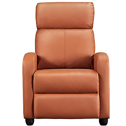 Yaheetech Modern Tan Recliner PU Leather Sofa Upholstered Reclining Chair Classic Single Airmchair for Living Room Bedroom