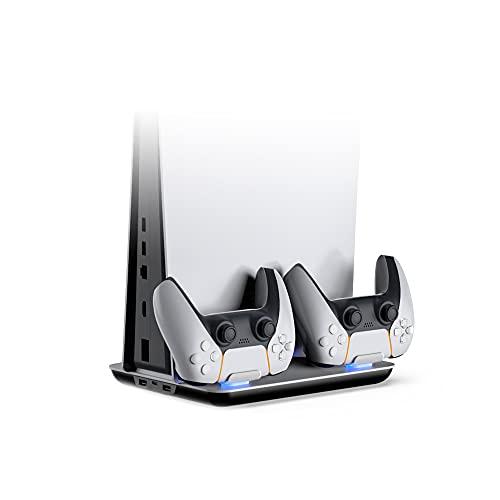 TwiHill a base do ventilador de resfriamento do host é adequada para PS5, dock de carregamento de luz azul para gamepad, acessório PS5, branco