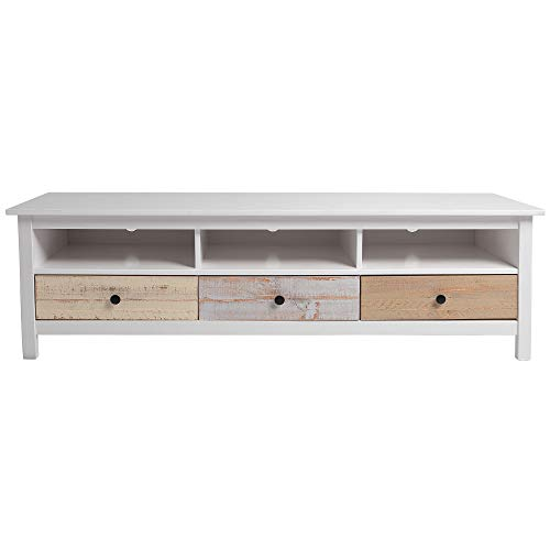 VS Venta-stock Mueble TV Magda Color Blanco/Multicolor, Madera de Pino Macizo, Frontales de Colores