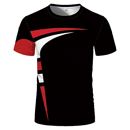 Camiseta Hombre Regular Fit Cuello Redondo Empalme Estampado Rayas Tops Hombres Verano Moda Manga Corta Shirt Hombres Trabajo Casual All-Match Camisa Deportiva Hombres