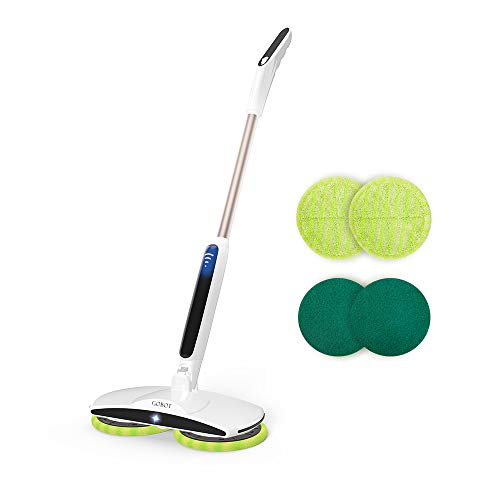 GOBOT Cordless Electric Mop Floor Scrubber for Home Kitchen Hardwood Floor Cleaner,2 Replacement Microfiber Pads and Adjustable Handle,Battery Indicator and Led Floodlight Polish for Tile, Vinyl