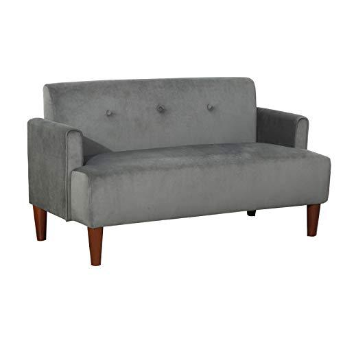 SANGDA Sofá de dos plazas de tela gris, sofá de tela con brazos, sillón reclinable doble, para dormitorio, oficina, sala de recepción