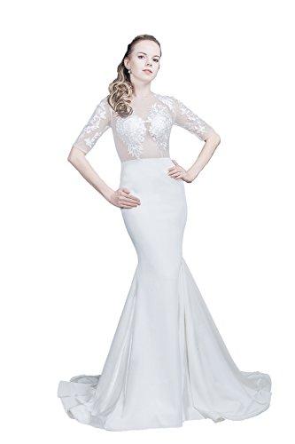 Saint Toi Trumpet/Mermaid Court Train Lace Wedding Dress LS-0060 White