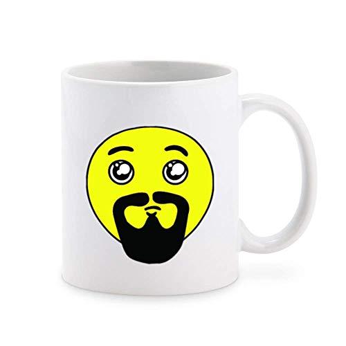Dwaze snor baard geel gezicht Emoji koffie mok thee cup nieuwigheid cadeau mokken 11 oz