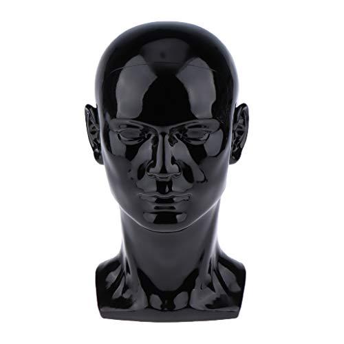 Glänzend PVC Styroporkopf Perückenkopf Dekokopf Mannequin Kopf Schaufensterpuppe Kopf, Ständer für Perücken, Kopfhörer, Mützen, Ca. 53 cm - Matt-schwarz