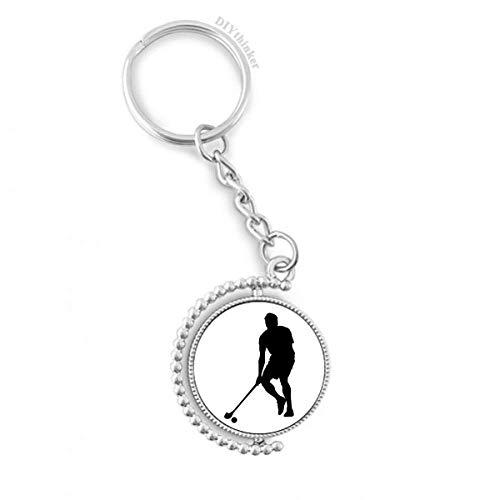 DIYthinker Physical EduKatzeion Hockey Sport Drehbare Schlüsselanhänger Ringe Laufen 1.2 Zoll x 3.5 Zoll Mehrfarbig