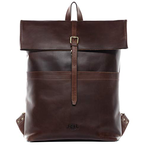 SID & VAIN Rucksack echt Leder Clay XL groß Backpack Tagesrucksack Kurierrucksack 15.4 Zoll Laptop Lederrucksack Laptopfach 15,6 Zoll Lederrucksack Herren braun