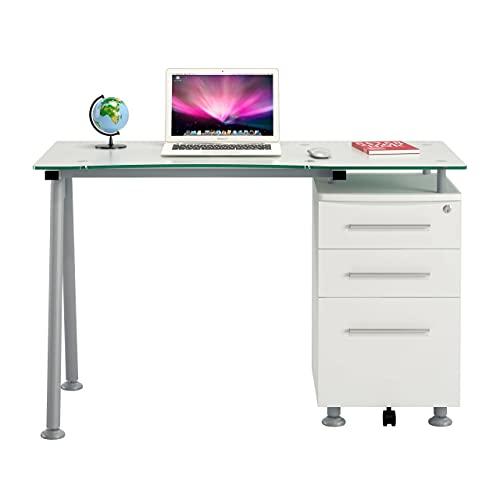 Ofichairs Mesa de Escritorio Strong Mesa para odenador cajones Cristal Color Blanc