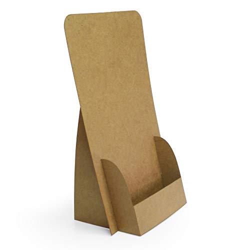 Vikbara FLYERSTÄNDERnaturlig design för DIN långa reklamblad (mappkant) (10 eller 10,5 x 21 cm), tillverkade av kartong, återvinningsbar, sparar plats, hållbar, snabb att bygga (21 x 10,5 cm DIN lång)