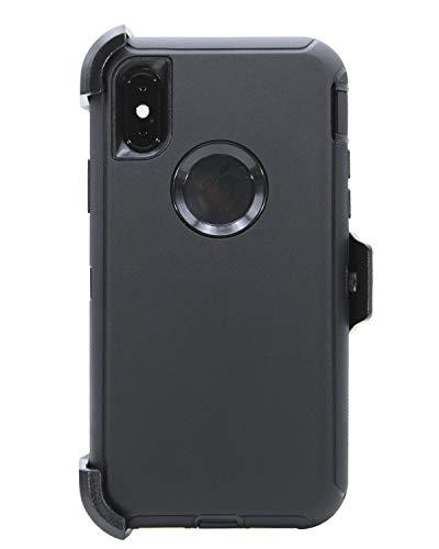 """WallSkiN Turtle Series Belt Clip Case for iPhone Xs/iPhone X/iPhone 10 (5.8""""), 3-Layer Full Body Life-Time Protective Cover & Holster & Kickstand & Shock, Drop, Dust Proof - Black/Black"""