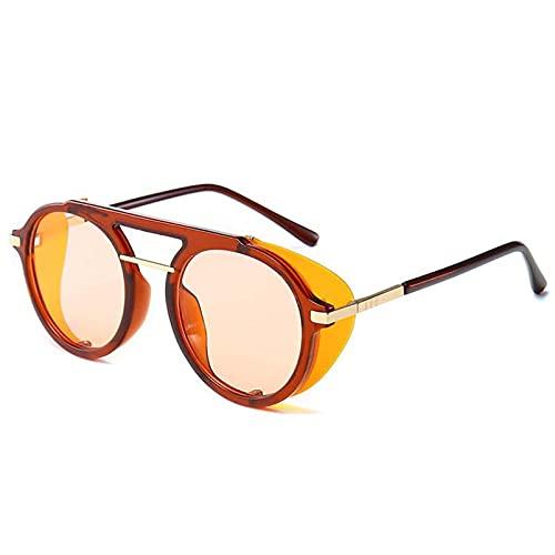 AMFG Punk retro marco redondo Gafas de sol Color Flip hombres y mujeres gafas de sol Street Shooting Partido de negocios Gafas al aire libre (Color : B, Size : M)