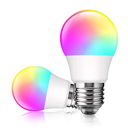 Alexa Glühbirnen E27/G45 Smart LED Lampe, Dogain WLAN Mehrfarbige Dimmbare Birnen, App Steuern Kompatibel mit Alexa Echo, Google Home, kein Hub benötigt, RGB Timer, Warmweiß/Kaltesweiß licht, 2 Stücke