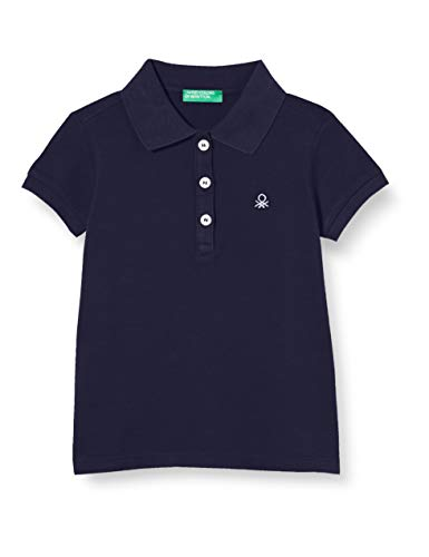 United Colors of Benetton Baby-Mädchen Maglia Polo M/M Poloshirt, Blau (Peacoat 252), Gr. 90 CM/2Y (Herstellergröße:2Y)