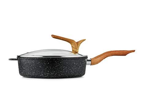 Haufson Asteroid Saute Pan | Funziona con tutti i principali piani cottura | Naturalmente antiaderente | Utensili da cucina professionali per la casa | Padella antiaderente a induzione