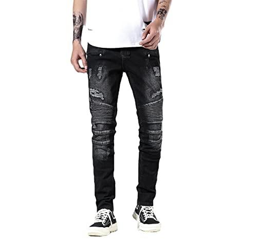 Liuhond Skinny Slim Fashion Men's Ripped Straight Holes Hip Hop Biker Stretchy Jeans, 008black, 38W x 32L