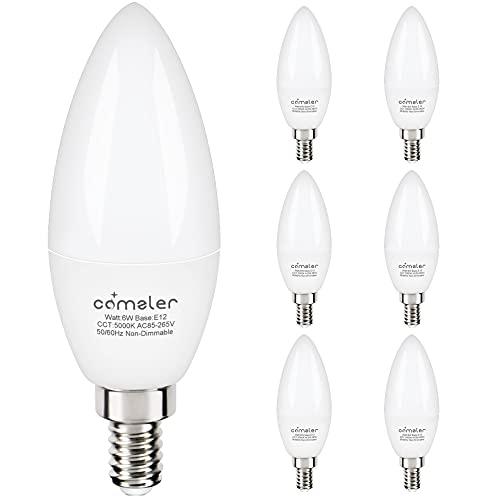 Comzler 6W Candelabra LED Bulb Frosted, Small Base E12 LED Bulb 60 Watts Equivalent,Chandelier Light Bulbs Type B Light Bulb Daylight 5000K, Pack of 6, Non-Dimmable