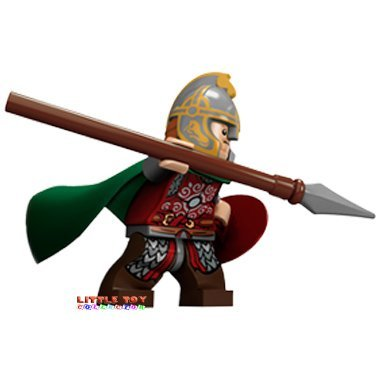 Lego Herr der Ringe Eomer mit Schild und Speer ( Minifigur mit grünem Mantel und Helm )
