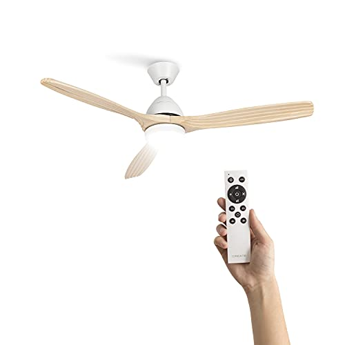 CREATE IKOHS WINDLIGHT CUP DC - Ventilador de techo con Mando a Distancia, 3 Aspas de Madera Natural, Potencia de 40W DC Ultrasilencioso, 132 cm de Diametro, 6 Velocidades