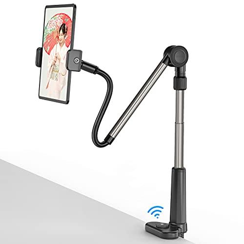 アームスタンド タブレット スタンド アーム スマホスタンド ipadスタンド ベッドサイド Bluetoothリモコン付き 俯瞰撮影 折畳み式 寝ながらスマホアームスタンド 360回転 角度・高さ調整可能 4.6~11インチのスマートフォン&タブレット&電子書籍リーダーに対応 ビング・寝室・オフィス・キッチン・浴室・旅行に適用iPhone&Android& iPad&Kindle兼用ホルダー ブラック