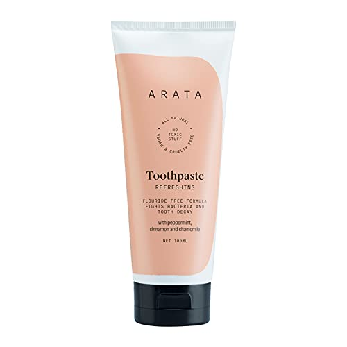 Arata Zero Chemicals Natural Fluoride/Sulphate and Paraben-Free Refreshing Toothpaste with Peppermint, Cinnamon and Chamomile and (100 ml)