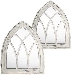 BestNest Set of 2 Esschert Design Gothic Mirror Wall Art, White Wash