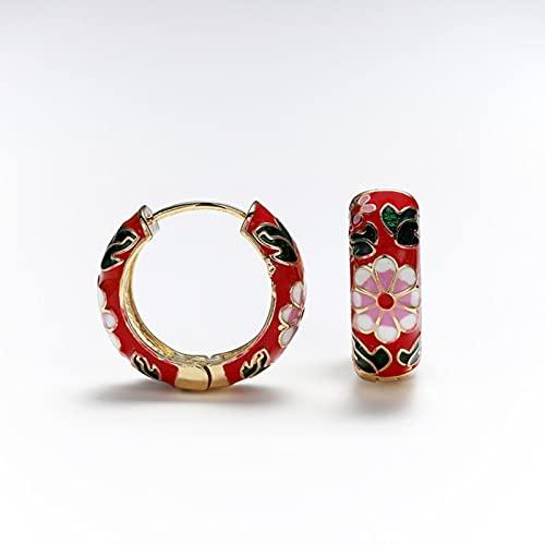 SONGK Pendientes de aro de Flores de Esmalte de Moda para Mujer Pendientes pequeños de círculo Vintage Regalos de joyería de declaración