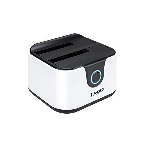 """Tooq TQDS-802BW - Base de conexion Docking Station con Doble Bahia SATA para Discos de 2.5"""" y 3.5"""", USB 3.0 y USB 2.0 Host, Funcion Clone Offline, Color Blanco"""