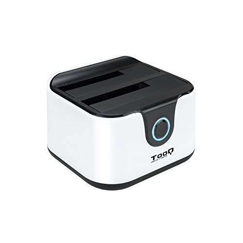 TooQ TQDS-802BW - Base di connessione Docking Station con Doppio alloggiamento SATA per Dischi da 2.5' e 3.5', USB 3.0 e USB 2.0 Host, Funzione Clone Offline, Colore Bianco