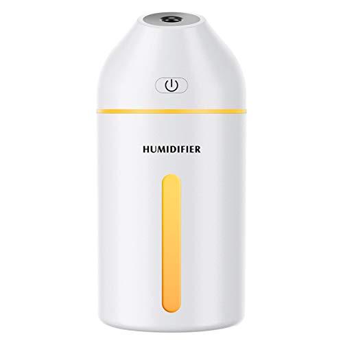 Homasy 320ml Mini, Portátil USB Humidificador Ultrasónico Cool-Mist Vaporizador, 19dB Whisper Quiet con 8 Hours Timer para Hogar de la Oficina de Viajes del Dormitorio del Bebé, Blanco