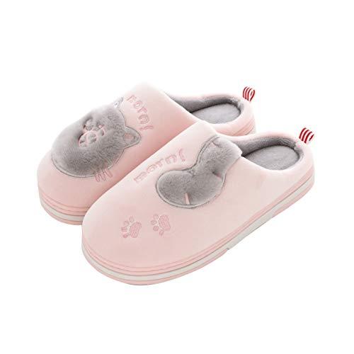Drecage Hausschuhe für Damen und Herren im Katzen Design, Filtzpantoffel Plüsch Kuschelig, Winter Warme Pantoffeln Pink 35/36 (Herstellergr.36/37)