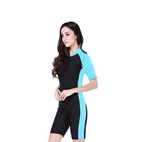 iYmitz Damen Einteiliger Surfanzug Sommer UV Schutz Badeanzug Badebekleidung Wassersport Anzug Schnelltrocknend Wetsuit für Frauen(Himmelblau,M)