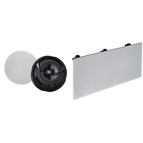 Monoprice Alpha 2-Way Ceiling Speakers - 6.5 Inch (Pair) Carbon Fiber, Paintable Magnetic Grille, 8 Inch & 2-Way Carbon Fiber in-Wall Center Channel Speaker - Dual 5.25 Inch (Single)