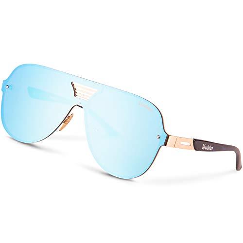 Verdster Blade Blaue Verspiegelte Oversize XL Sonnenbrille für Männer - Ausgefallener Look für modebewusste Männer - Breites, flaches Gestell - Inklusive Accessoires