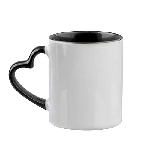 MR.R Blank 11oz Sublimaiton Inner Black Color Ceramic Mug with Heart Handle Case of 6