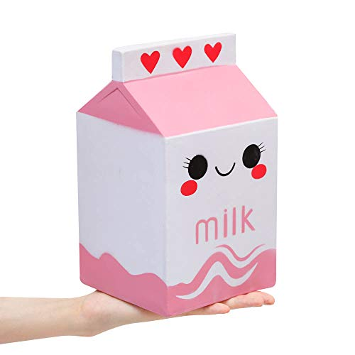Anboor 8.9 Inches Milk Box Squishies Jumbo Soft Slow Rising Scented Kawaii Food Squishies Charms Stress Relief Kids Toys Decorative Props, Pink