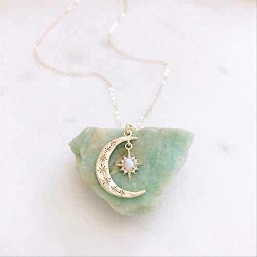 xtszlfj Dainty Oro crescentna Luna Collar de Cadena de ópalo Collar Estrella Luna Collares para Mujeres Mujeres Boho joyería Regalos