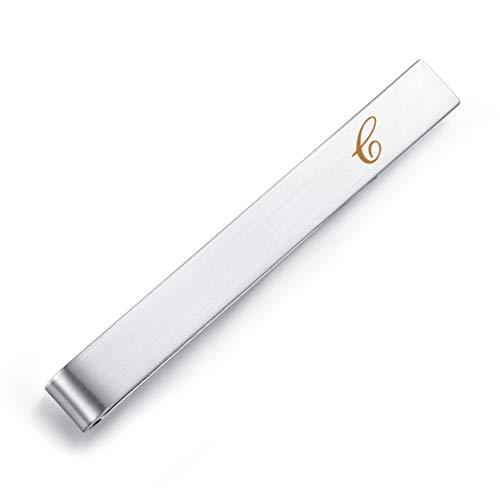 HONEY BEAR Fermacravatte per lettera iniziale per uomo - Dimensioni normali/taglia stretta regalo di nozze in acciaio, 5,4 cm / 4 cm, argento spazzolato (C 2.13 inches)