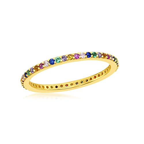 Sterling Silver Gold Plated 2mm Rainbow CZ Eternity Band Ring (Size 8)
