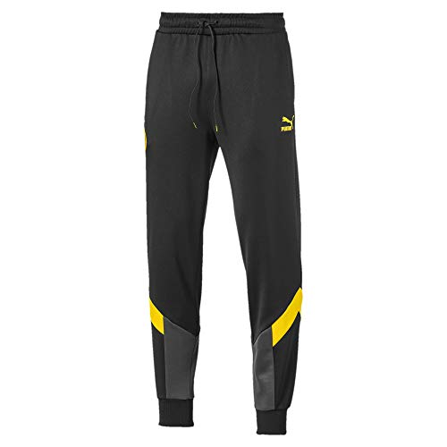 PUMA Herren BVB Iconic MCS Track Pants Jogginghose, Black/Cyber Yellow, XL