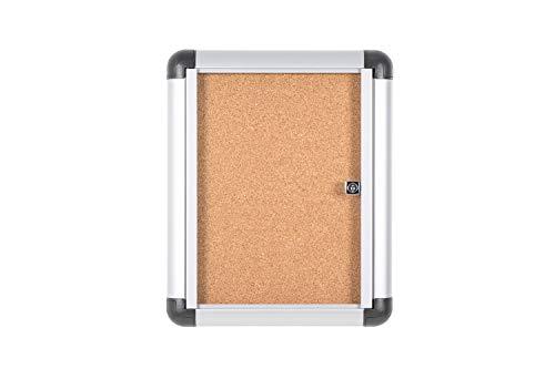 Bi-Office Enclore Extra - Vitrina de Interior de Corcho con Puerta de Acrílico y Cerradura, 270x357mm - 1xA4